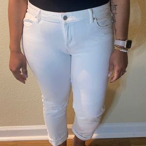 Ankle Crop White Jeans